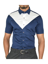 El Figo Designer Satin Cotton Slim Fit Shirt (Navy_ Wht Traingle), blue, s