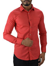 El Figo Men's Cotton Slim Fit Booty Shirt (Booty_ Rose), red, m