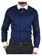 El Figo Men's Satin Cotton Dress Shirt (NavyPc_ wht_ col_ cuf), blue, m