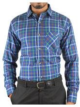 El Figo Men's Slim Fit Checkered Shirt (Blue_ Green_ Chk), multicolor, xl