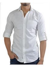 El Figo Men's Linen Dress Shirt (white_ Linen_ Collar), white, m