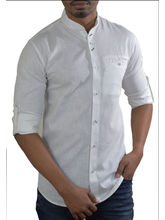 El Figo Men's Linen Mandarin Collar Shirt (white_ Linen_ Band), white, xl