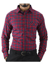 El Figo Men's Cotton Checkered Slim Fit Shirt (Red_ Multi_ Check), multicolor, s
