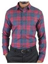 El Figo Men's Slim Fit Checkered Shirt (Red_ Blu_ SlevPatch), multicolor, xl
