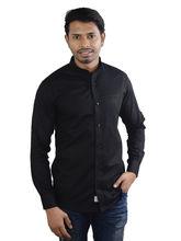 El Figo Men's Linen Mandarin Collar Shirt (Black_ Linen_ Band), black, xl