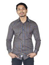 El Figo Men's Cotton Check Shirt (Navy_ Brwn_ BiasPatch), multicolor, l