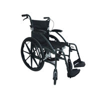 "Foldable Aluminium wheelchair with 22"" rear tyres (M604), metallic graphite"