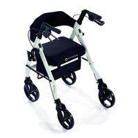 "Comodita Prima Special Rollator Walker with Exclusive 16"" Wide Ultra Comfortable Orthopedic Seat,  metallic white"