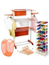 Kawachi Cloth Drying Stand With Laundry Basket Bag & 6 Pcs Hanger & 10 Layer Shoe Rack Combo