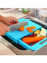 Kawachi 3 In 1 Kitchen Sink Cutting Board Removable Chopping Blocks Drainage Cutting Board Washing Bowl Plates, blue