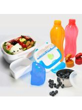 Kawachi Lunch Box With Leak Proof Container And Plastic Bottle 2 Pcs, blue