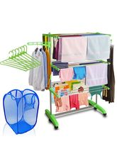 Kawachi Cloth Drying Stand With Laundry Basket Bag & 6 Pcs Hanger Combo