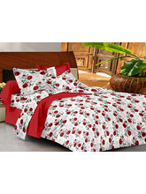 Casa Basics Double Bedsheet With 2 Pillow Cover (CBEZ230230144050), red and white