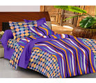 Casa Basics Double Bedsheet With 2 Pillow Cover (CBEZ230230144112), puprle and yellow