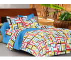 Casa Basics Double Bedsheet With 2 Pillow Cover (CBEZ230230144016), multicolor