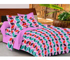 Casa Basics Double Bedsheet With 2 Pillow Cover (CBEZ230230144097), multicolor