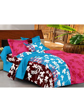 Casa Basics Double Bedsheet With 2 Pillow Cover (CBEZ230230144131), pink and blue