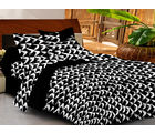 Casa Basics Double Bedsheet With 2 Pillow Cover (CBEZ230230144064), black and white