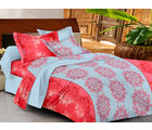 Casa Basics Double Bedsheet With 2 Pillow Cover (CBEZ230230144034), red and blue