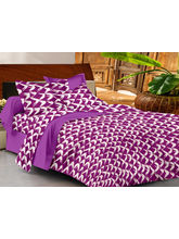 Casa Basics Double Bedsheet With 2 Pillow Cover (CBEZ230230144063), purple and white