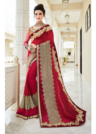 Red Georgette Heavy Embroidered Designer Wedding Saree