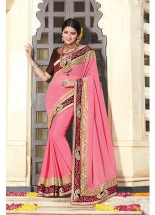 Pink Georgette Embroidered Designer Wedding Saree