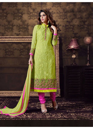 Green Embroidered Georgette Semi Stiched Straight Cut Suit