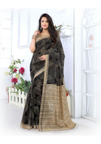 Black Formal Bhagalpuri Silk Saree with Blouse