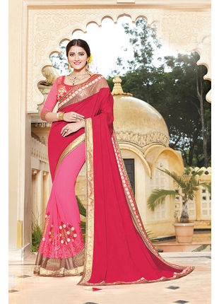 Pink Georgette Embroidered Designer Wedding Saree