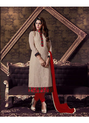 Cream Embroidered Georgette Semi Stiched Straight Cut Suit