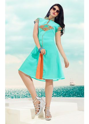 Sky Blue Georgette Designer Fashionable Kurti (Size: M, L and XL)