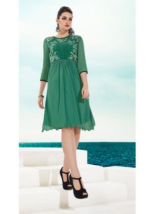 Sea Green Georgette Designer Fashionable Kurti (Size: M and L)