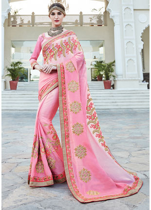 Pink Georgette Heavy Embroidered Designer Wedding Saree