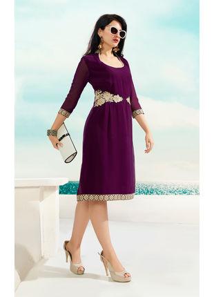 Magenta Georgette Designer Fashionable Kurti (Size: L)