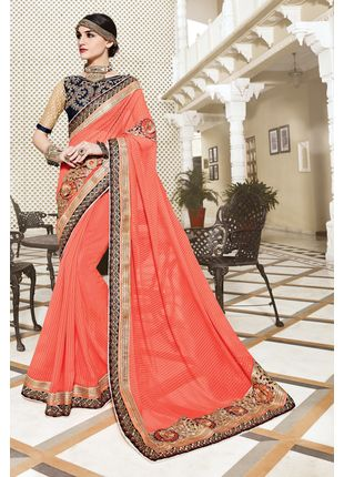 Orange Georgette Heavy Embroidered Designer Wedding Saree