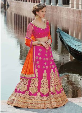 Pink and Orange Festive Net Embroidered Lehenga with Designer Blouse Piece and Chiffon Dupatta