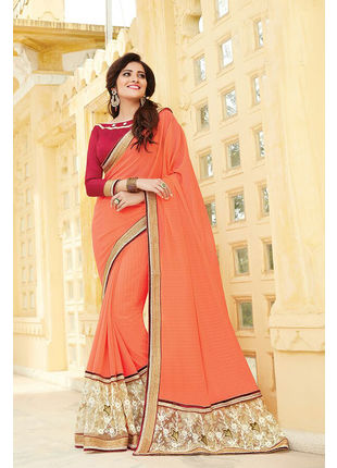 Orange Georgette Embroidered Designer Wedding Saree