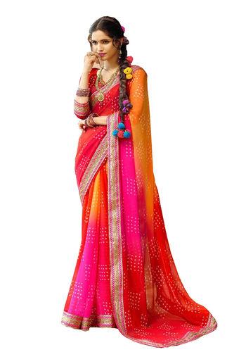 Multicoloured Chiffon Bandhani Printed Saree