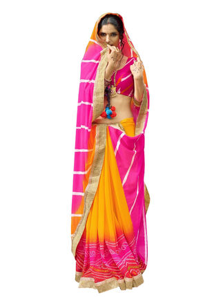 Yellow and Pink Chiffon Bandhani Printed Saree