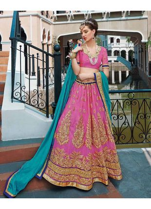Pink and Green Festive Net Embroidered Lehenga with Designer Blouse Piece and Chiffon Dupatta