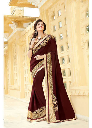 Brown Georgette Embroidered Designer Wedding Saree