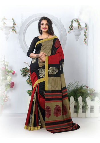 Black and Red Formal Bhagalpuri Silk Saree with Blouse