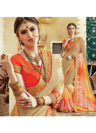Beige and Red Bandhani Printed Georgette Saree