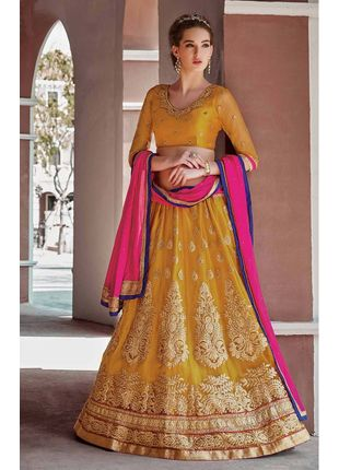 Yellow and Pink Festive Net Embroidered Lehenga with Designer Blouse Piece and Chiffon Dupatta