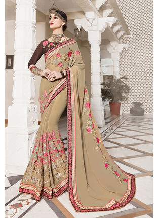 Beige Georgette Heavy Embroidered Designer Wedding Saree