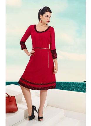 Red Georgette Designer Fashionable Kurti (Size: L and XL)