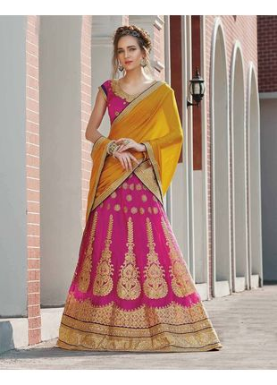 Pink and Yellow Festive Net Embroidered Lehenga with Designer Blouse Piece and Chiffon Dupatta