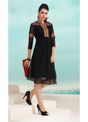 Black Georgette Designer Fashionable Kurti (Size: L)