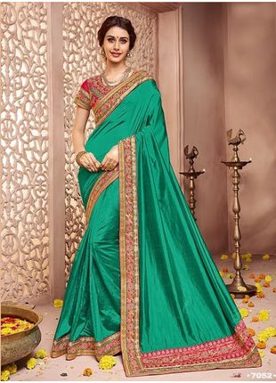 Dark Green Designer Wedding Silk Saree