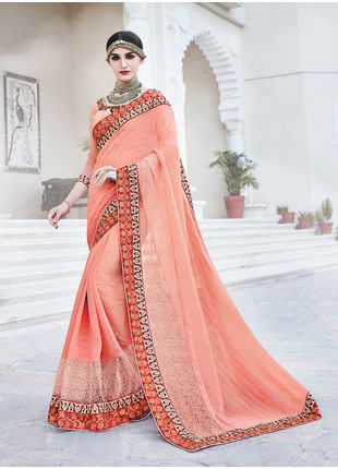 Peach Georgette Heavy Embroidered Designer Wedding Saree